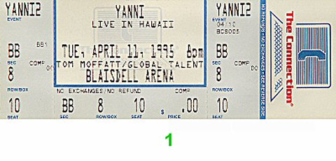 Yanni 1990s Ticket from Blaisdell Arena on 11 Apr 95: Ticket One