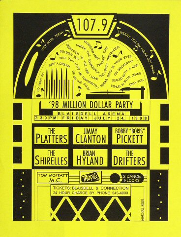 "The Platters Handbill from Blaisdell Arena on 24 Jul 98: 8 1/2"" x 11"""