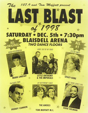 "Freddy Cannon Handbill from Blaisdell Arena on 05 Dec 98: 8 1/2"" x 11"""