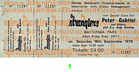 The Stranglers 1970s Ticket from Battersea Park on 16 Sep 78: Ticket One