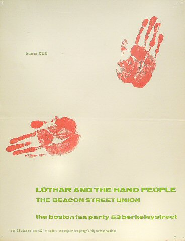 "Lothar and the Hand People Poster from Boston Tea Party on 22 Dec 67: 17 1/2"" x 22 1/2"""