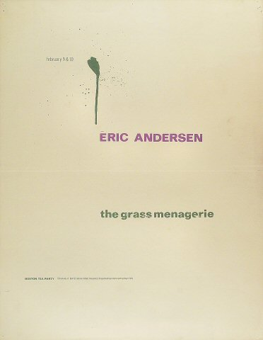 "Eric Andersen Poster from Boston Tea Party on 09 Feb 68: 17 1/2"" x 22 1/2"""