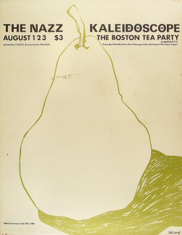 "Nazz Poster from Boston Tea Party on 01 Aug 68: 17 1/2"" x 22 1/2"""