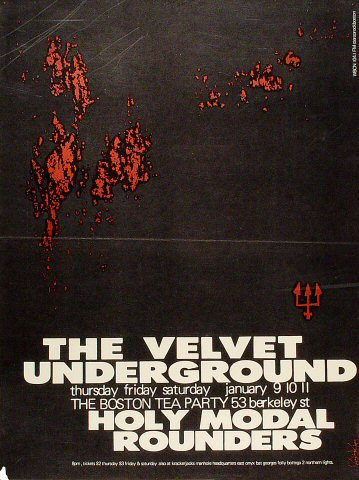 "The Velvet Underground Poster from Boston Tea Party on 09 Jan 69: 16 7/8"" x 22 1/4"""