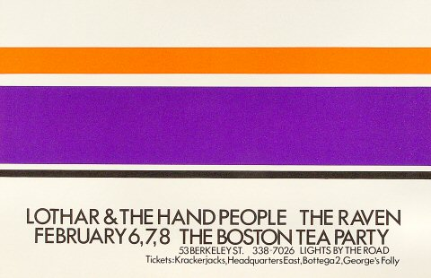 "Lothar and the Hand People Poster from Boston Tea Party on 06 Feb 69: 11"" x 16 7/8"""