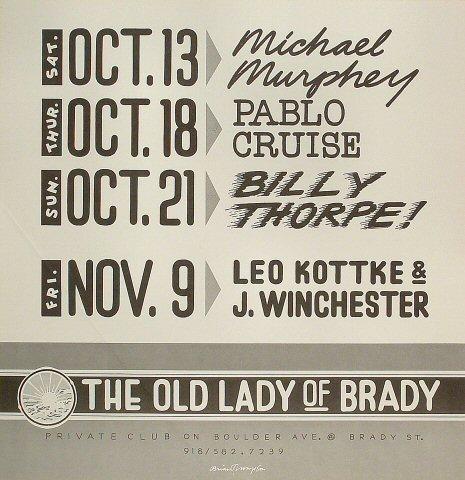 "Michael Martin Murphey Poster from Brady Theatre on 13 Oct 78: 17"" x 17 1/2"""