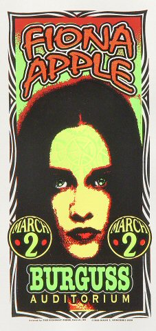 "Fiona Apple Handbill from Burgess Auditorium on 02 Mar 98: 4 1/4"" x 8 5/8"""