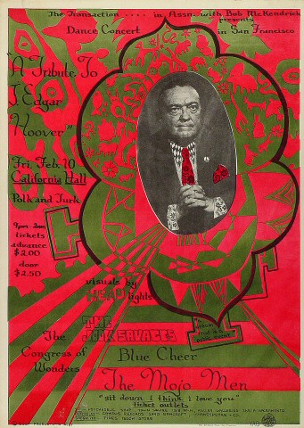 """The Mojo Men Poster from California Hall on 10 Feb 67: 14 3/16"""" x 19 15/16"""""""