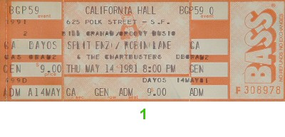 Split Enz 1980s Ticket from California Hall on 14 May 81: Ticket One
