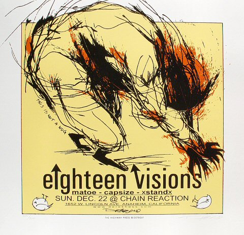 "Eighteen Visions Poster from Chain Reaction on 02 Dec 02: 19"" x 19 5/8"""