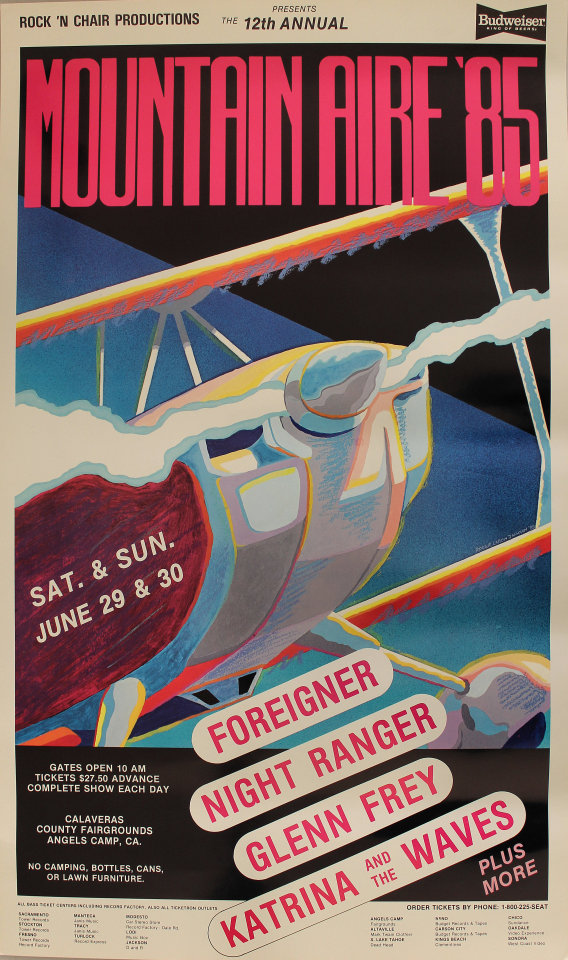 "Foreigner Poster from Calaveras County Fairgrounds on 29 Jun 85: 15"" x 25 3/8"""