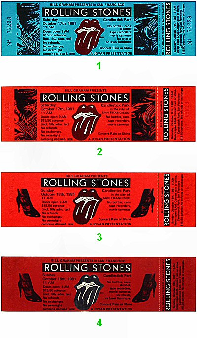 The Rolling Stones 1980s Ticket from Candlestick Park on 17 Oct 81: Ticket