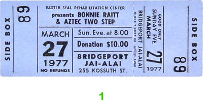 Bonnie Raitt 1970s Ticket from Bridgeport on 27 Mar 77: Ticket One