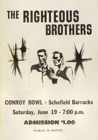"The Righteous Brothers Poster from Conroy Bowl on 19 Jun 65: 14"" x 20"""