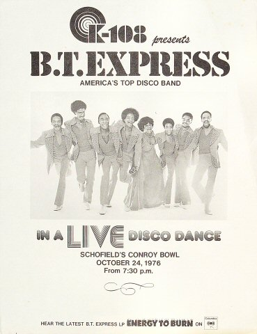 "B.T. Express Handbill from Conroy Bowl on 24 Oct 76: 8 1/2"" x 11"""