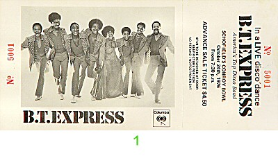 B.T. Express 1970s Ticket from Conroy Bowl on 24 Oct 76: Ticket One
