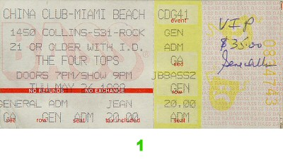 The Four Tops 1980s Ticket from China Club on 26 May 88: Ticket One