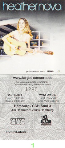 Heather Nova Post 2000 Ticket from CCH Saal 3 on 20 Nov 01: Ticket One