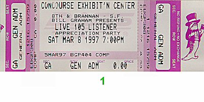The Cardigans 1990s Ticket from Concourse Exhibition Center on 08 Mar 97: Ticket One