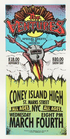 "The Ventures Handbill from Coney Island High on 04 Mar 98: 4 1/4"" x 8 5/8"""