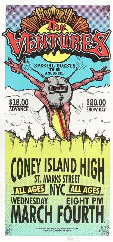 "The Ventures Poster from Coney Island High on 04 Mar 98: 10 1/2"" x 22 1/4"""
