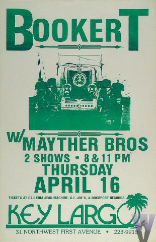 """Booker T. & the MG's Poster from Key Largo Restaurant & Nightclub on 16 Apr 81: 11"""" x 17"""""""
