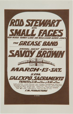 "Rod Stewart Handbill from Cal Expo Amphitheater on 13 Mar 71: 5 1/2"" x 8 1/2"""