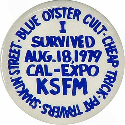 "Blue Oyster Cult Vintage Pin from Cal Expo Amphitheater on 18 Aug 79: 1 3/4"" x 1 3/4"" Pin"