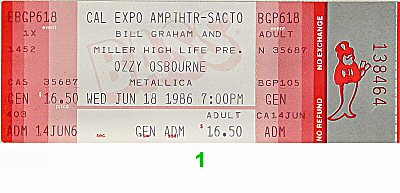 Ozzy Osbourne 1980s Ticket from Cal Expo Amphitheater on 18 Jun 86: Ticket One