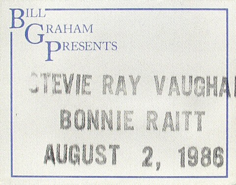 Stevie Ray Vaughan Backstage Pass from Cal Expo Amphitheater on 02 Aug 86: Pass 1
