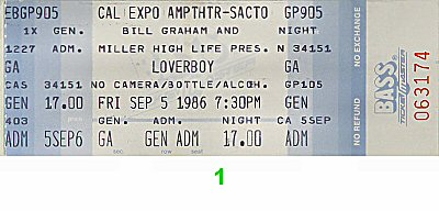 Loverboy 1980s Ticket from Cal Expo Amphitheater on 05 Sep 86: Ticket One