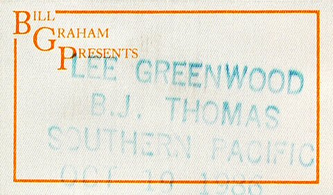 Lee Greenwood Backstage Pass from Cal Expo Amphitheater on 19 Oct 86: Pass 1