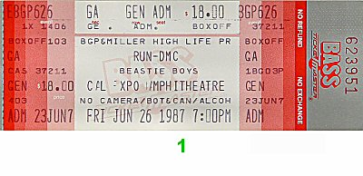 RUN-D.M.C. 1980s Ticket from Cal Expo Amphitheater on 26 Jun 87: Ticket One