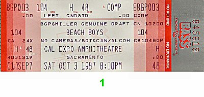The Beach Boys 1980s Ticket from Cal Expo Amphitheater on 03 Oct 87: Ticket One