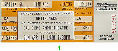 Whitesnake 1980s Ticket from Cal Expo Amphitheater on 17 Apr 88: Ticket One