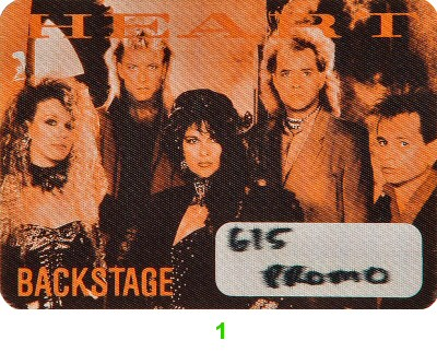 Heart Backstage Pass from Cal Expo Amphitheater on 05 Jun 88: Pass 1