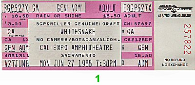 Whitesnake 1980s Ticket from Cal Expo Amphitheater on 27 Jun 88: Ticket One