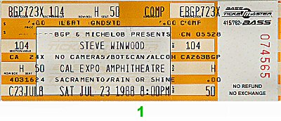 Steve Winwood 1980s Ticket from Cal Expo Amphitheater on 23 Jul 88: Ticket One
