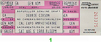 Debbie Gibson 1980s Ticket from Cal Expo Amphitheater on 06 Aug 88: Ticket One