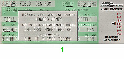 Howard Jones 1980s Ticket from Cal Expo Amphitheater on 09 Jul 89: Ticket One