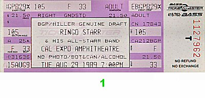 Ringo Starr 1980s Ticket from Cal Expo Amphitheater on 29 Aug 89: Ticket One