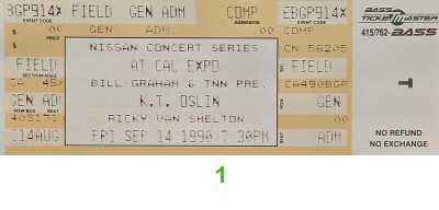 K.T. Oslin 1990s Ticket from Cal Expo Amphitheater on 14 Sep 90: Ticket One