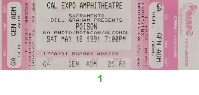 Poison 1990s Ticket from Cal Expo Amphitheater on 18 May 91: Ticket One
