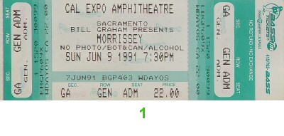 Morrissey 1990s Ticket from Cal Expo Amphitheater on 09 Jun 91: Ticket One