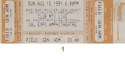 Bell Biv DeVoe 1990s Ticket from Cal Expo Amphitheater on 18 Aug 91: Ticket One