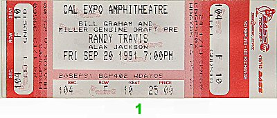 Randy Travis 1990s Ticket from Cal Expo Amphitheater on 20 Sep 91: Ticket One