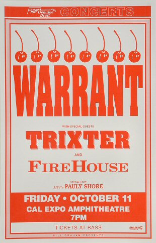 "Warrant Poster from Cal Expo Amphitheater on 11 Oct 91: 11"" x 17"""