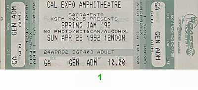 Marky Mark and The Funky Bunch 1990s Ticket from Cal Expo Amphitheater on 26 Apr 92: Ticket One