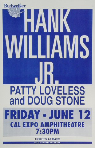 "Hank Williams Jr. Poster from Cal Expo Amphitheater on 12 Jun 92: 11"" x 17"""