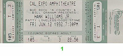 Hank Williams Jr. 1990s Ticket from Cal Expo Amphitheater on 12 Jun 92: Ticket One